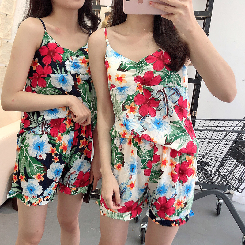 Cotton Pajamas Female Summer Sexy Suspender Shorts Two-Piece Set Sweet Beautiful Printed Fresh GIRL'S Home Wear
