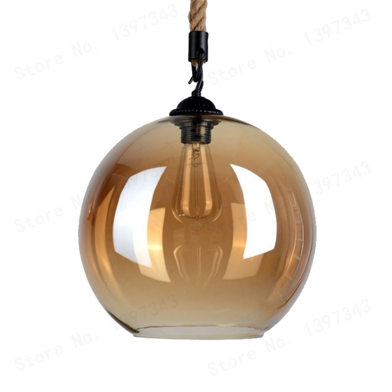 GZMJ Nordic Loft Amber Retro Hemp Rope Glass Pendant Light LED Lamp Plated Transparent Hanglamp Vintage Classic Hanging Lamp