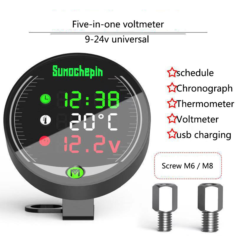 12-24V Modified USB Motorcycle Charger Water Temperature Gauge & Voltmeter & Chronograph & Thermometer 5in1 Moto Accessories