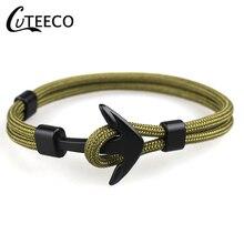 CUTEECO New Fashion Black Anchor Bracelets Men Charm 550 Survival Rope Chain Paracord Bracelet Male Wrap Metal Sport Hooks