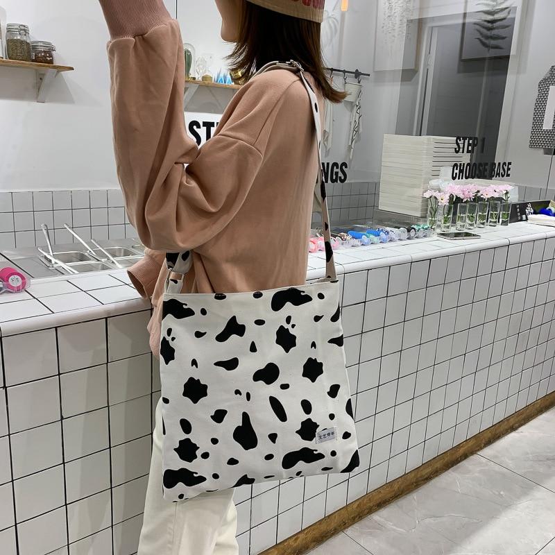 2019 Fashion Cute Cow Prints Canvas Casual Women Bags Lady Shoulder Handbag For Girls Shopping Phone Purse Sac Bolsa Feminina