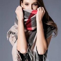 2020 Luxury brand plaid scarves cashmere shawls women winter warm plaid shawl cloak ms thick blankets tassel scarf Holiday gifts