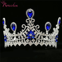 Fashion Baroque Vintage Blue Crystal Bride Crown Bridal Tiaras and Crowns Wedding Hair Jewelry Accessories RE3545