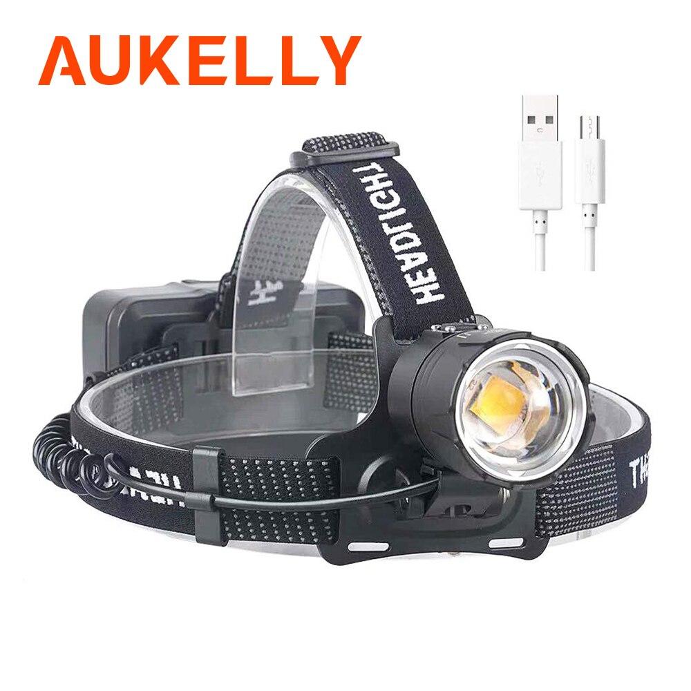 70000 Lumen XHP-70.2 led lampe frontale travail lampe de poche pêche Camping phare lumière jaune ZOOM Torches avec USB 3*18650 batterie