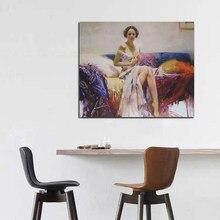 Pino daeni europa mulher pintura a óleo reproduções em tela posters e cópias da arte da parede imagem para sala de estar