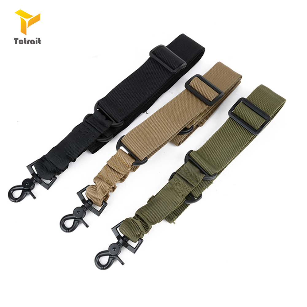 TOtrait New Nylon Adjustable Multi Function Tactical Single Point Bungee Airsoft Sling Strap Hunting Supplies