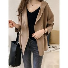 Loose Trench Coat Spring Autumn Womens Hooded Windbreaker Short Outerwear Female Casual Fashion Basic
