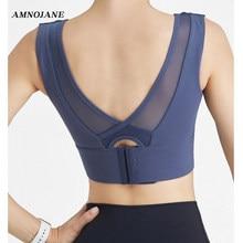 De malla de deportes Bra correas de alto impacto de apoyo de las mujeres Tank Top Gimnasio Deportivo ajustable brasieres de Yoga camisas empujar blanco Tops