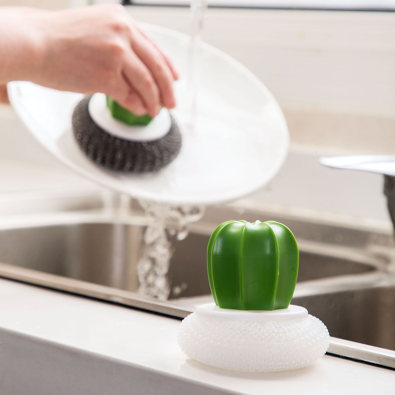 Cactus Shape Cleaning Brush Pot Pan Plate Washing Brushes Glass Dish Brush Scourer Steel Wool Kitchen Cleaning Tool