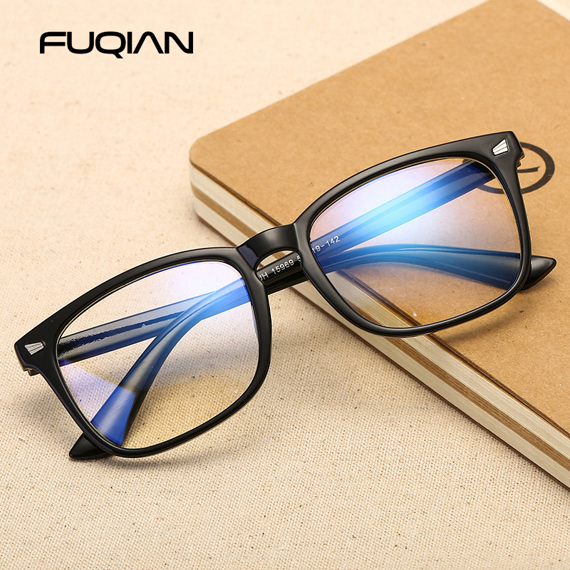 FUQIAN Fashion Frame Glasses Women Vintage Square Computer Glasses Men Anti Blue Ray Eyeglasses Gaming Goggles