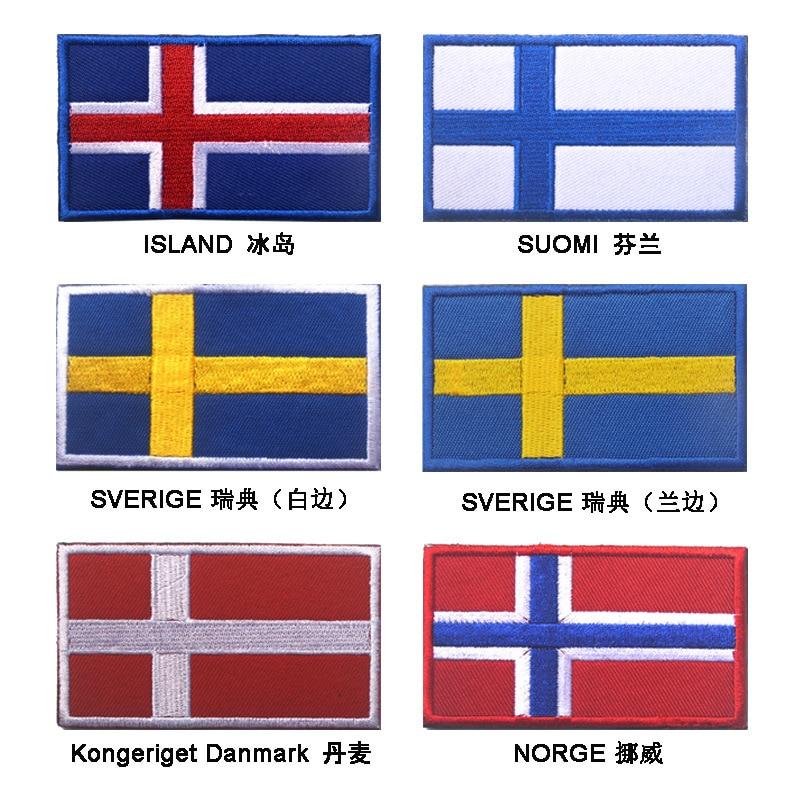 Northern European-Style Velcro Embroidered Flag Shoulder Emblem Iceland Norway Sweden Denmark Finland Switzerland Bag With Suppl