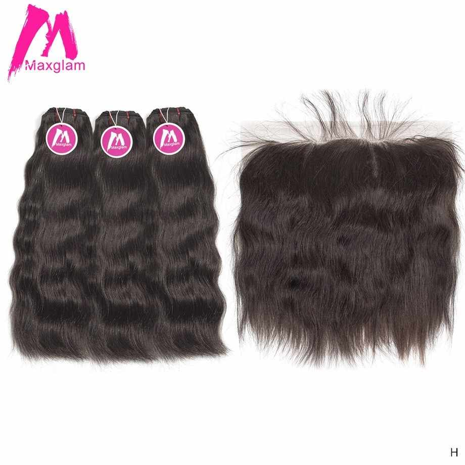 Maxglam Raw Virgin Indian Straight Hair Weave Bundles with Frontal Natural Color Short Long Human Hair Extension for Black Women