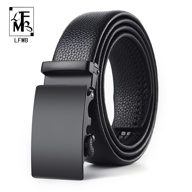 [FLMB]genuine Leather Men's Simple Belt Fashion Designer Business New Belt Jaguar Pattern Decorative Alloy Automatic Buckle