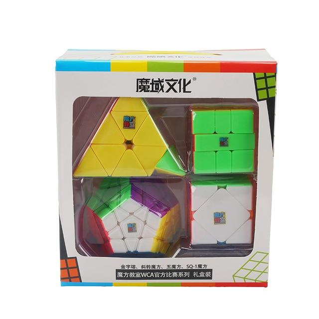 Moyu Cube Bundle 2x2 3x3 4x4 5x5 Speed Cube Set Mofang Jiaoshi Magic Cube MF2S MF3S MF4S MF5S Pack Puzzle Toy Gift Box