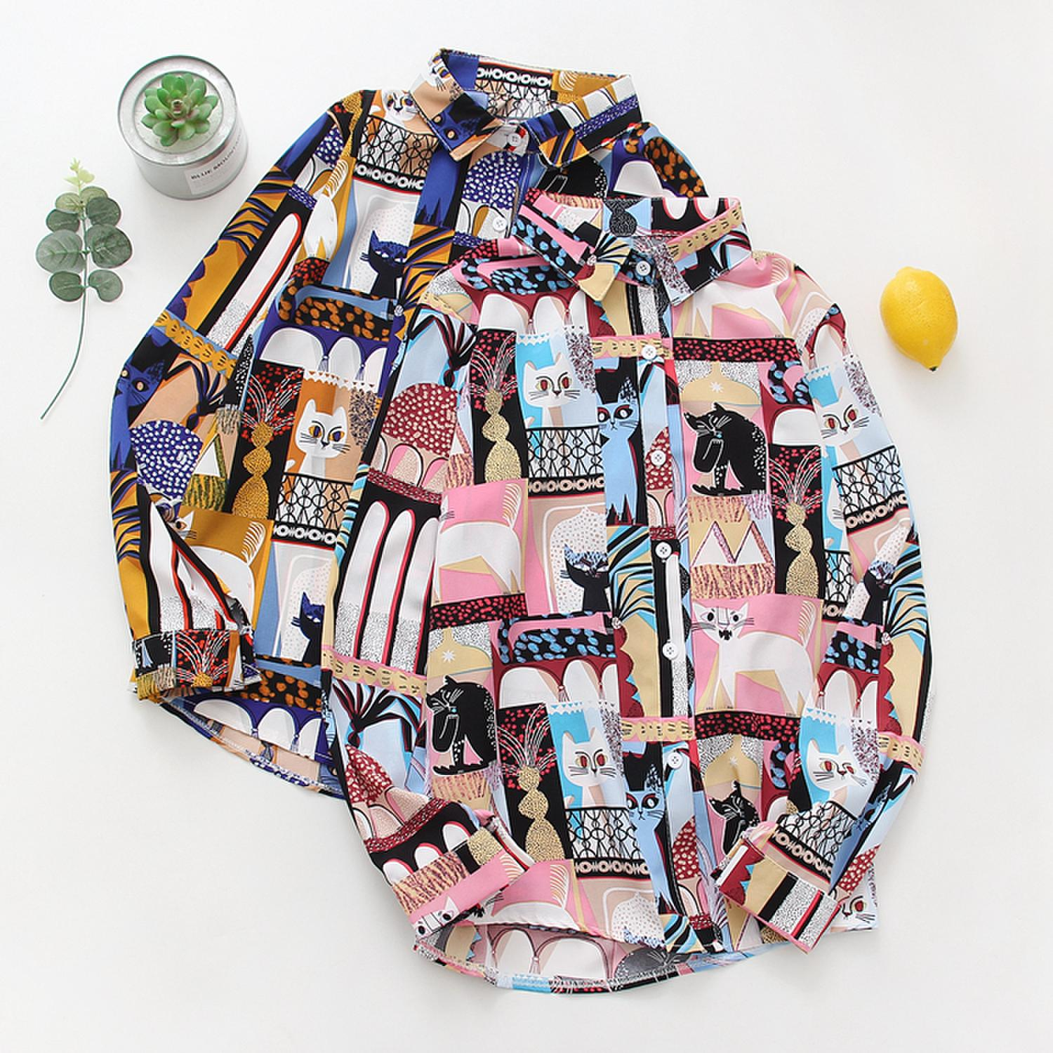 Colorful Cat Themed Blouse