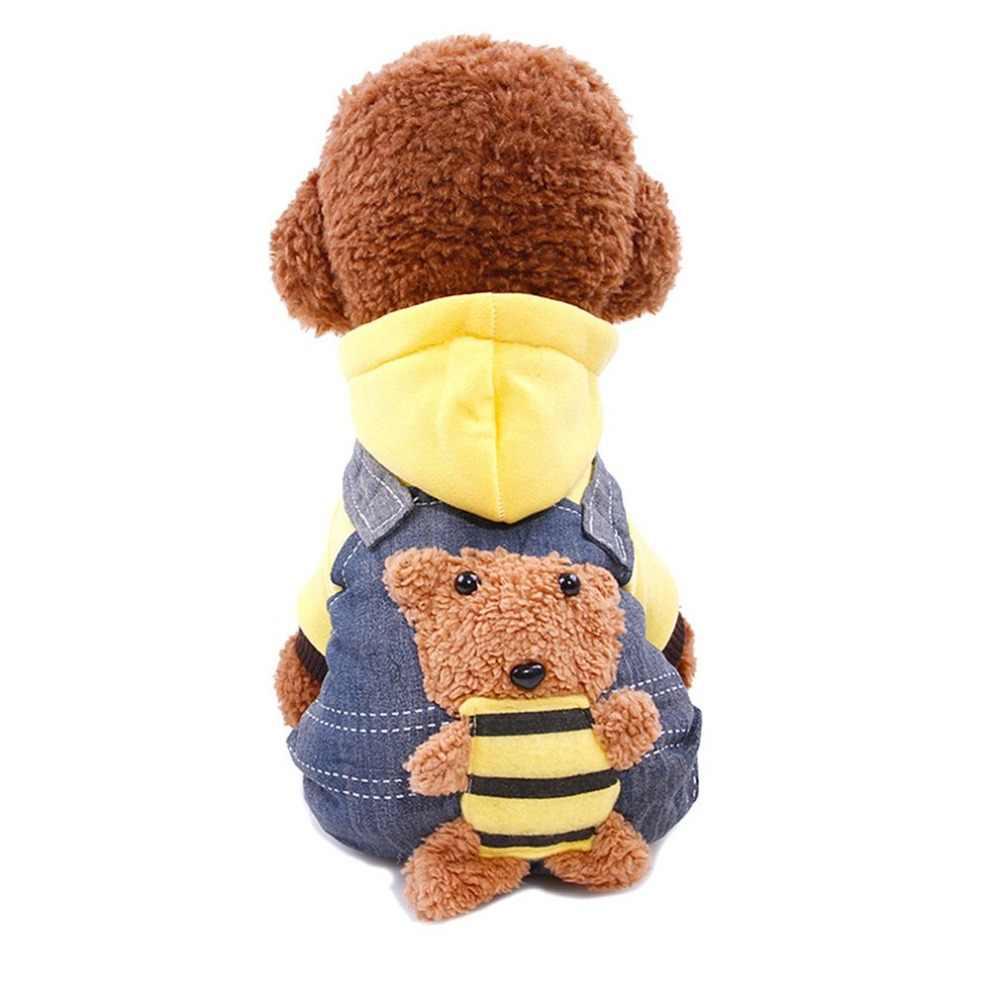 Ubranka dla psa kombinezon dla szczeniaka dżinsy ubranie dla psa kurtka dla małych psów kombinezon czerwony żółty