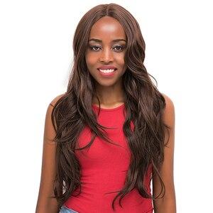 Image 2 - 중간 갈색 합성 머리 레이스 가발 여성을위한 X TRESS 금발 613 긴 물결 모양의 레이스 프론트 가발 자연 헤어 라인 중간 부분