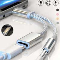 Adaptador 2 en 1 Tipo C para Huawei P30 P20 Mate20 Pro Honor20 Nova 5 divisor de carga 3,5mm AUX conector de auriculares Adaptador Tipo C