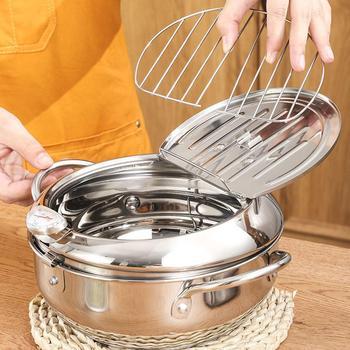 Marmite de cuisine Thermometre Tempura friteuse casserole ustensiles de cuisine outils frits contrôle de la température Pot de poulet 1