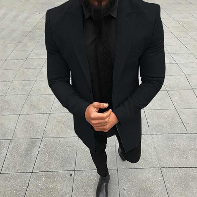 2019 Fashion Brand Blazer Men's Slim Woolen Coat  Winter New Luxury High Quality Jacket Thick Warm Single-breasted Business Coat