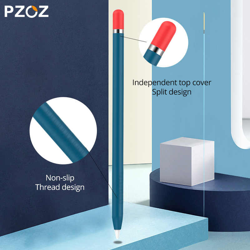 PZOZ Cho Bút Apple 1 2 Ốp Lưng Bọc Nhiều Màu Sắc Cho IPad Chì Chống Trơn Trượt Bảo Vệ Silicone