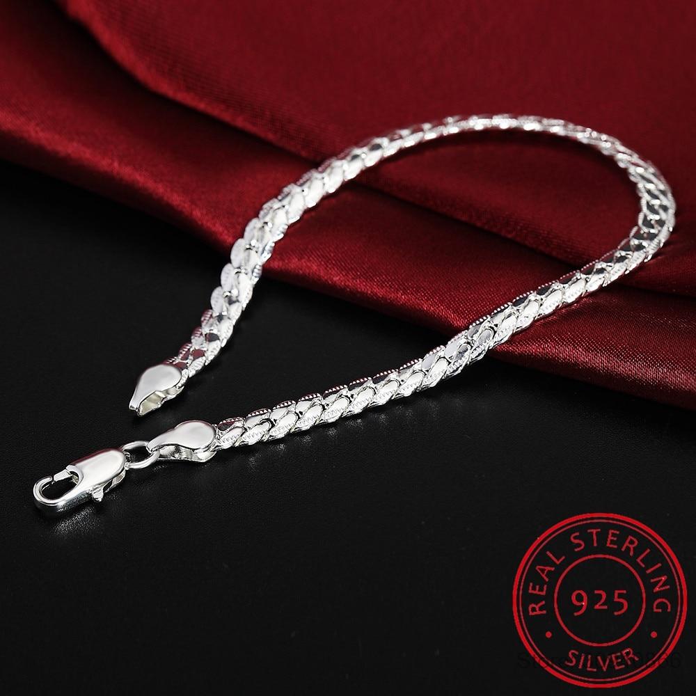Women 925 Sterling Silver Bracelet Fine Jewelry 5MM 20cm Snake Flat Male Chain Bracelet Armband/pulsera For Men
