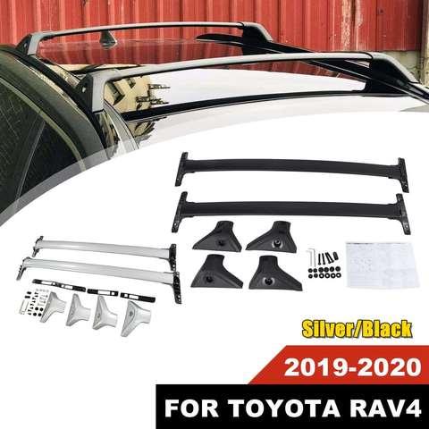 nova prata preto aluminio barra de tejadilho rack barra transversal para toyota rav4 2019 2020