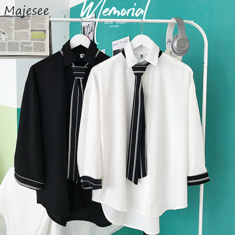 Men Shirts Solid Breathable Korean Style Plus Size 3XL Loose Leisure Chic All-match Mens Harajuku Simple Trendy Casual Student