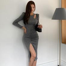 Осеннее Новое корейское облегающее трикотажное платье с разрезом