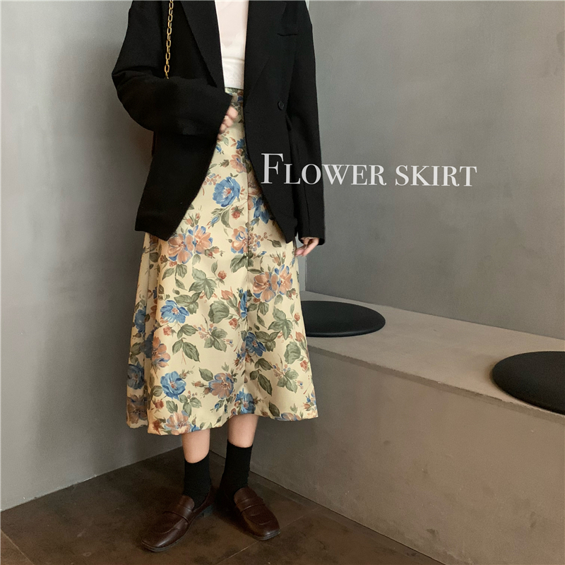 2020 Vintage Floral Print Ruffle Pleated Long Skirts Winter Women Korean Skirt Streetwear Drawstring Elastic Waist Midi Skirt