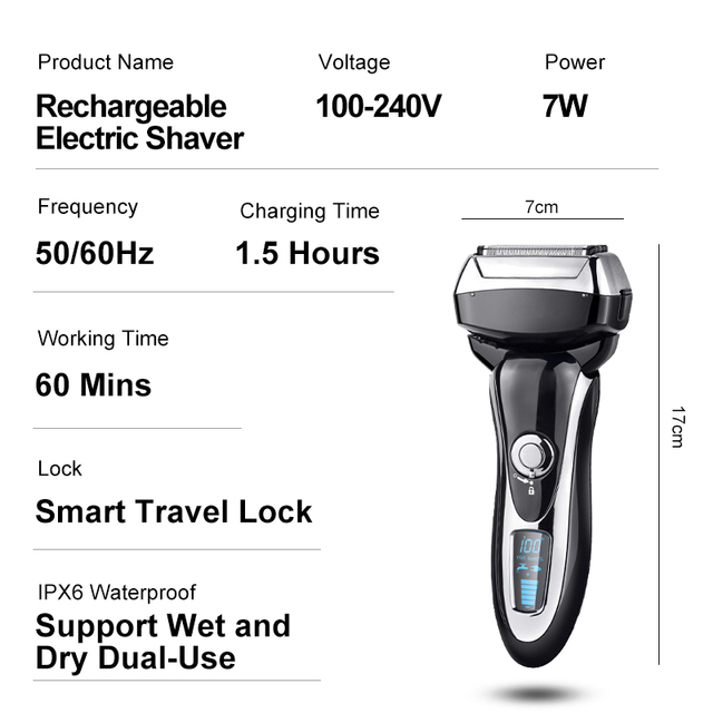 4 Blade Professional Men Shaver Rechargeable Electric Razor Wet & Dry For Men Beard Trimmer Shaving Machine LCD Display 6