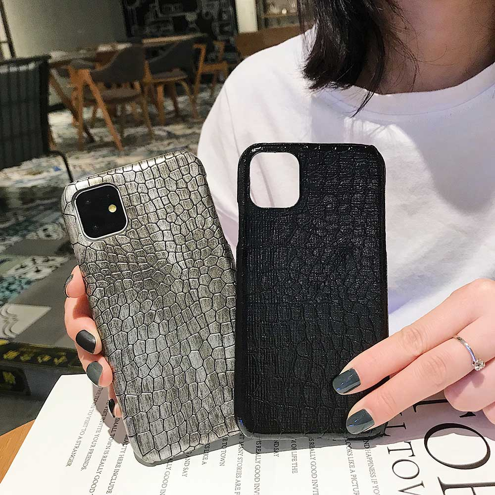 Fashion Cool Crocodile Snake Skin Cover Case With Hybrid Rubber Cape For iPhone Xs Max 7
