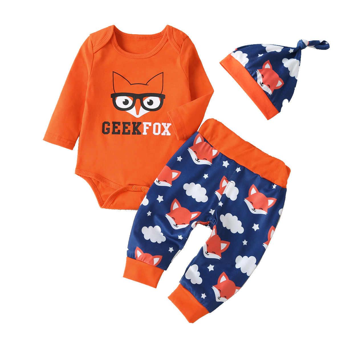 ทารกแรกเกิดใหม่ 3 Pcs เด็กทารกเด็กทารกเสื้อผ้าชุดยาวแขนหมาป่า Romper เด็กเสื้อ + กางเกงขายาว + ชุดเสื้อผ้าหมวก