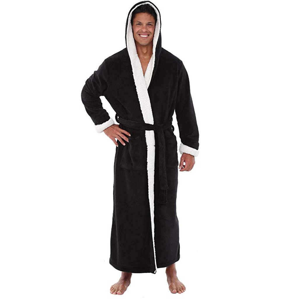 Men Bathrobe Men's Winter Lengthened Plush Shawl Bath Robe Home Clothes Long Sleeved Robe Coat Badjas #35
