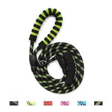 Round Nylon Dog Leather Leash Reflective Large Rope Pet Running Tracking Leashes Products Collar