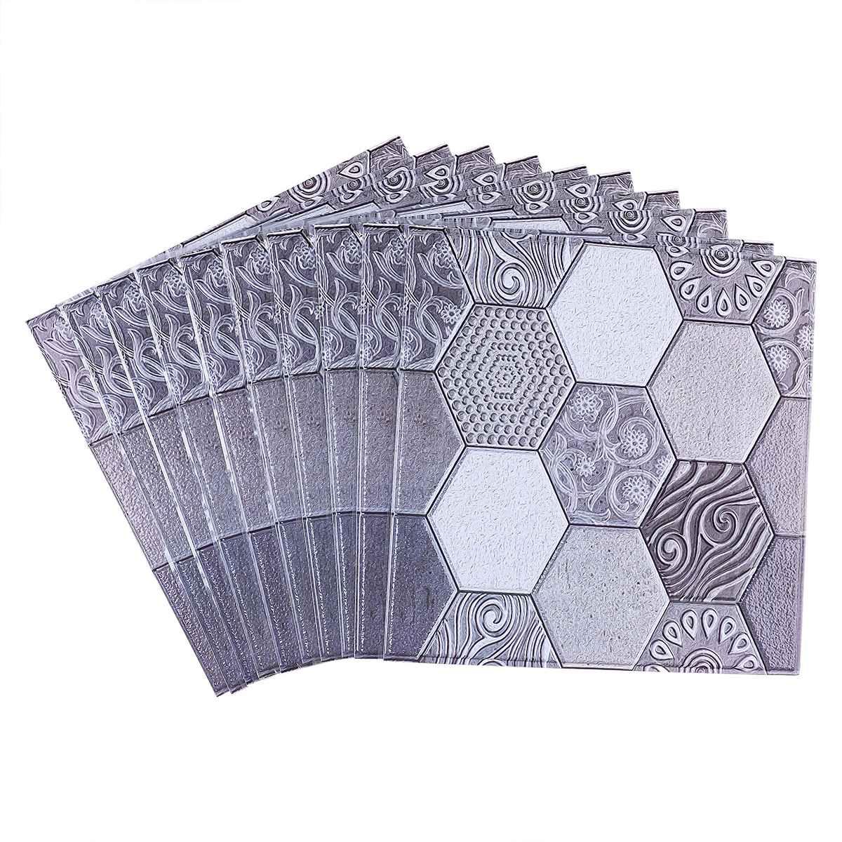 Nouveau 10 pièces/ensemble PVC auto adhésif Stickers muraux 3D pierre papier peint cuisine chambre salon TV fond papier peint décor 30*30 - 2