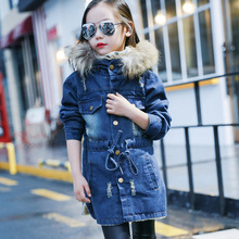 OLEKID 2019 Autumn Winter Denim Jacket For Girls Plus Velvet