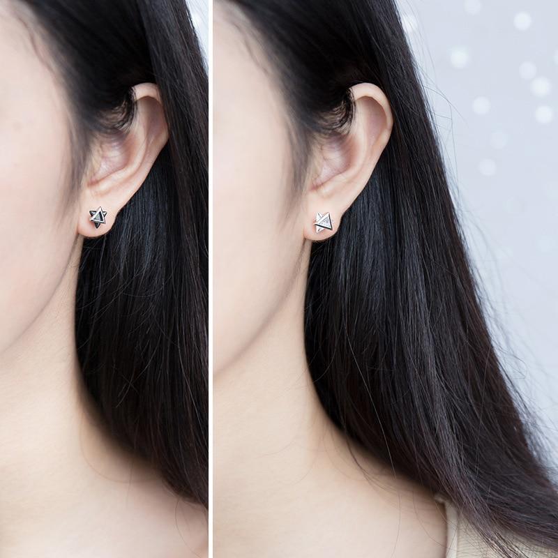 INZATT Real 925 Sterling Silver Zircon Triangle Stud Earrings For Fashion Women Minimalist Fine Jewelry ins Hot Accessories