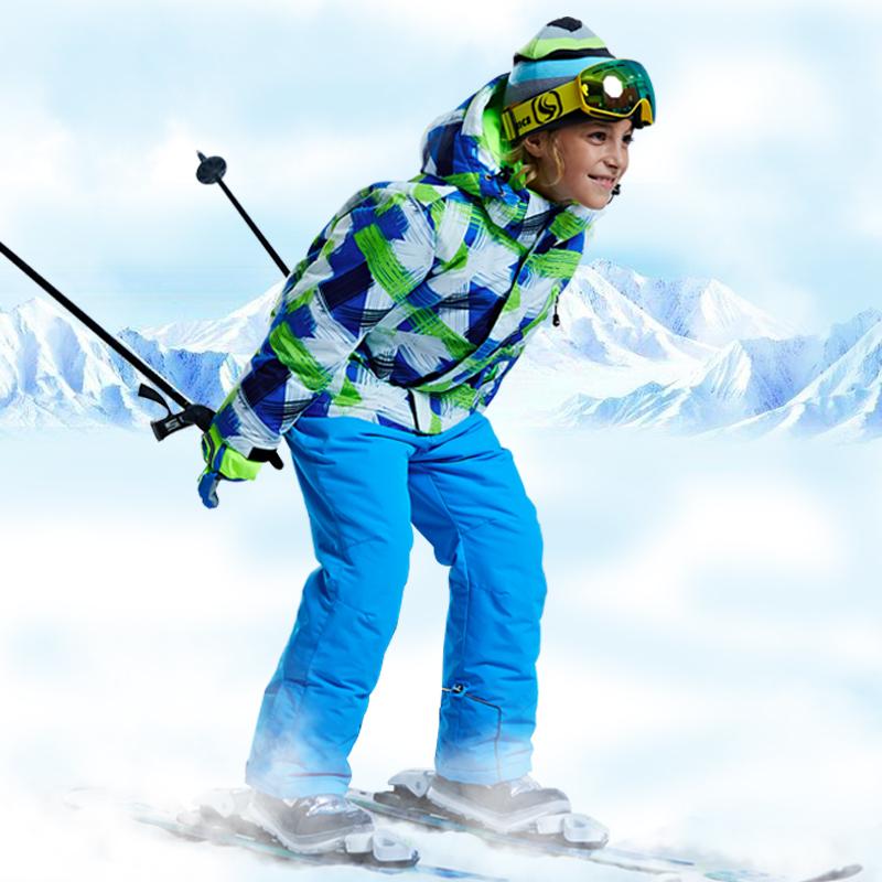 Children Ski Suit -30 Degree Boys Girl Clothing Set Kids Snowboard Waterproof Outdoor Sports Jacket Pants Clothes Snowsuit Teen