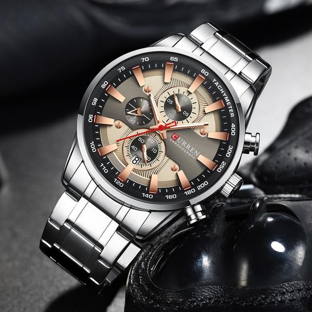 Curren preto relógio de ouro para homens moda quartzo esportes relógio de pulso cronógrafo data relógios aço inoxidável masculino relógio 4