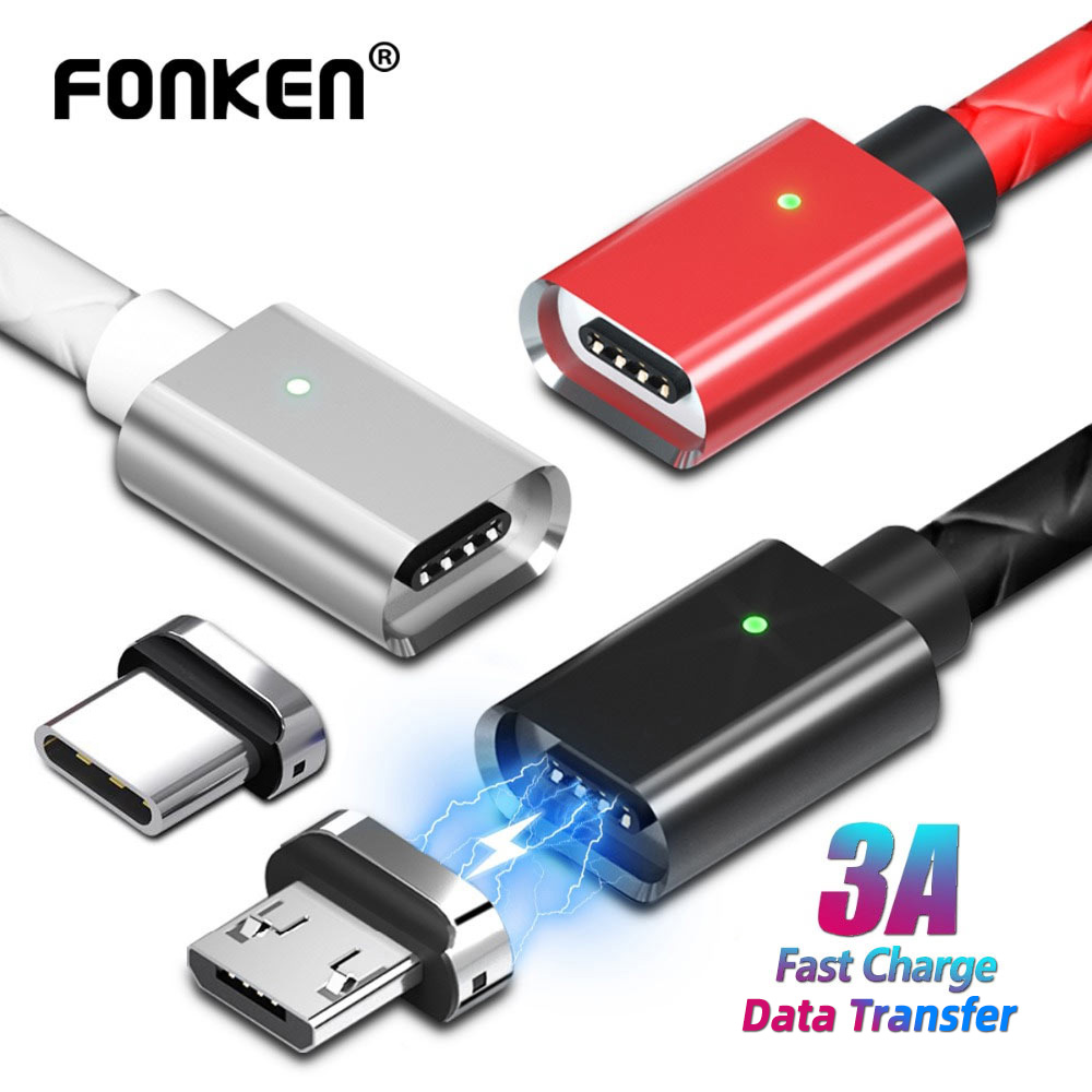 Micro USB Cable Magnetic Cable Type C 3A Fast Charge 1m 2m Android Mobile Quick Charging Magnet USB C Cord Phone Data Cord Mobile Phone Cables    - AliExpress