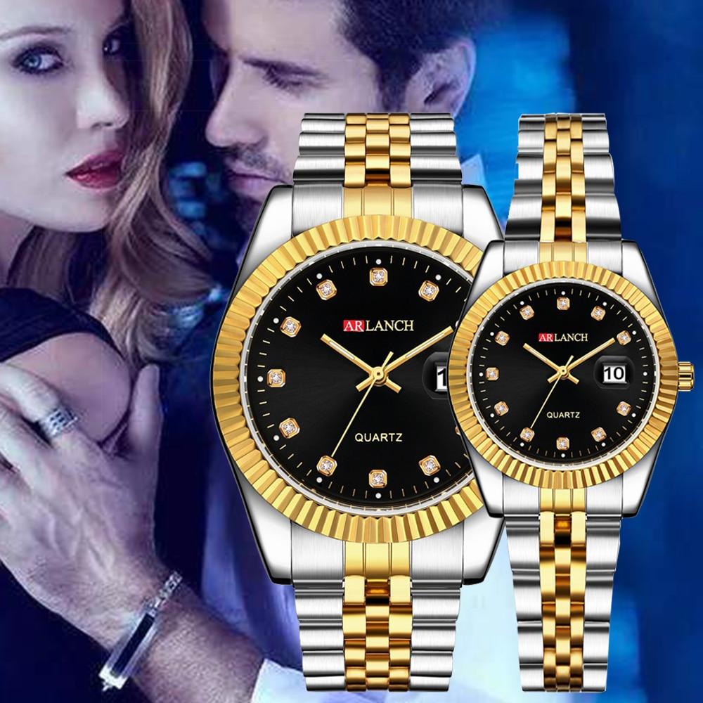 Fashion Couple Watch Mens Watches Top Luxury Quartz Watch Waterproof Clock Ms Full Steel Wristwatch Fashion Casual Lovers Watch