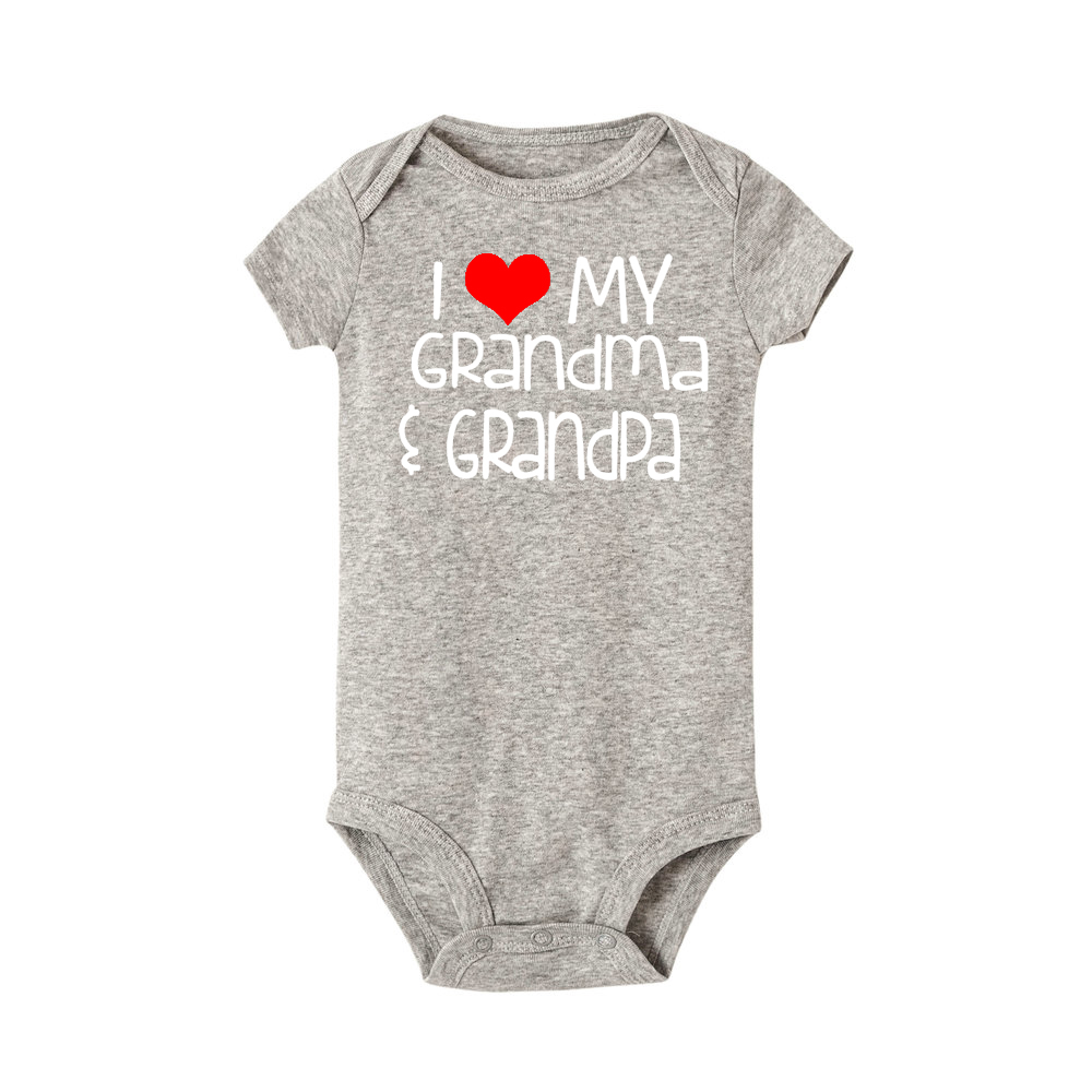 Newborn Baby Romper I Love My Grandma and Grandpa Print Funny Infant Boys Girls Soft Short Sleevd Fashion Jumpsuit Outfit | Happy Baby Mama