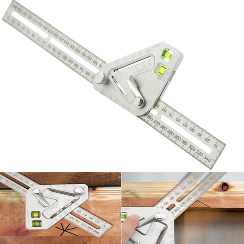 Woodworking Scribe 340mm T-type Ruler Spirit Level Ruler Multi-function Angle Ruler Protractor Scribing Gauge Measuring Tools