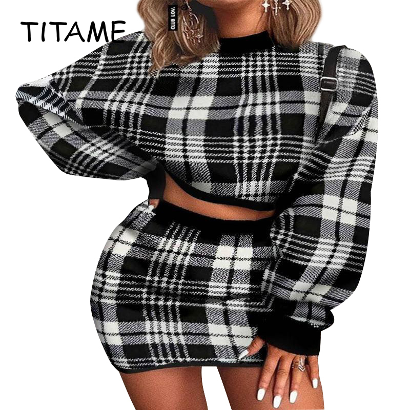 >Women's Elegant Office Two Pieces <font><b>Plaid</b></font> Knitted Sweater Outfit Long Sleeve Crop Top And <font><b>Skirt</b></font> Set Sexy Fashion Party <font><b>Dress</b></font> Set