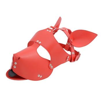Black Red Leather Dog Bdsm Mask Bondage Restraints Cosplay Mask Costume erotic SM Slave Head Cover Harness Fetish kinky Sex Toys 4