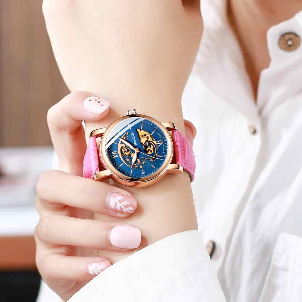 HAIQIN 2019 Simple dame montres haut de gamme de luxe montre-bracelet dames mécanique montre or étanche en cuir relogio feminino