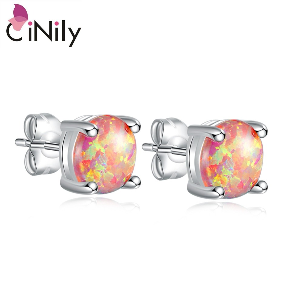 CiNily Orange Fire Opal Stone Stud Earrings Silver Plated Timeless Mini Round Ball Earing Chic Jewelry Birthday Gift Women Girls
