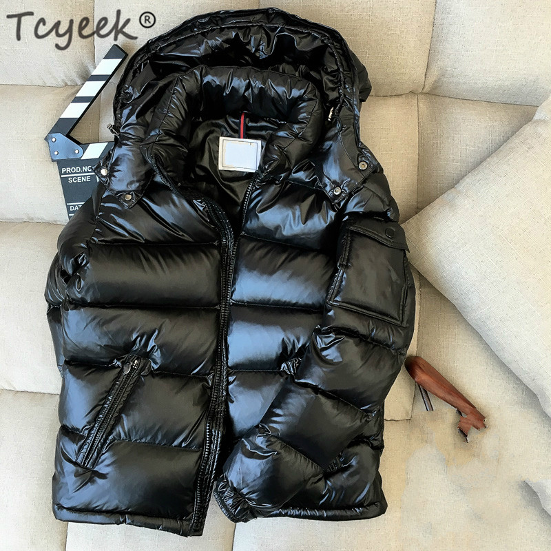 Tcyeek Winter Down Jacket Men Thick Warm Ultralight 90% White Duck Down Coat Male Hooded Mens Clothing Casual Outwear LWL1153