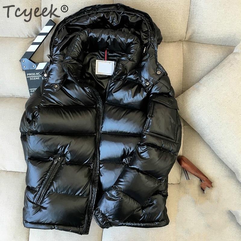 Tcyeek Winter Down Jacket Men Thick Warm Ultralight 90% White Duck Down Coat Male Hooded Mens Clothing Casual Outwear LWL1153